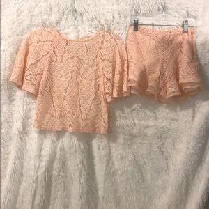 Women's mesh short set peach color